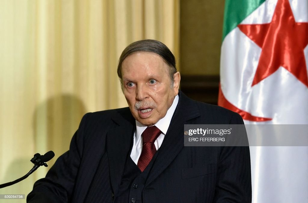 Algerian President <a gi-track='captionPersonalityLinkClicked' href=/galleries/search?phrase=Abdelaziz+Bouteflika&family=editorial&specificpeople=176720 ng-click='$event.stopPropagation()'>Abdelaziz Bouteflika</a> meets with the French prime minister at his residence during an official visit on April 10, 2016 in Zeralda, a suburb of the capital Algiers. / AFP / Eric FEFERBERG