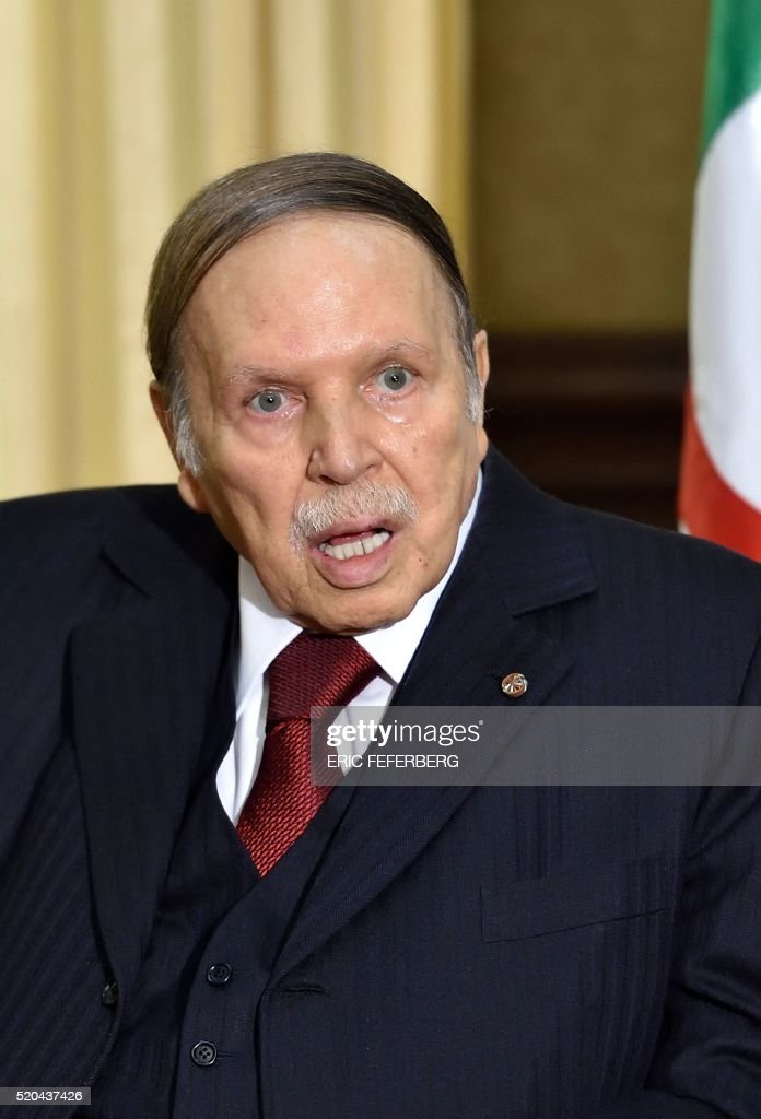 Algerian President <a gi-track='captionPersonalityLinkClicked' href=/galleries/search?phrase=Abdelaziz+Bouteflika&family=editorial&specificpeople=176720 ng-click='$event.stopPropagation()'>Abdelaziz Bouteflika</a> meets with the French prime minister at his residence during an official visit on April 10, 2016 in Zeralda, a suburb of the capital Algiers. French Prime Minister Manuel Valls was on an official visit to Algeria. / AFP / Eric FEFERBERG