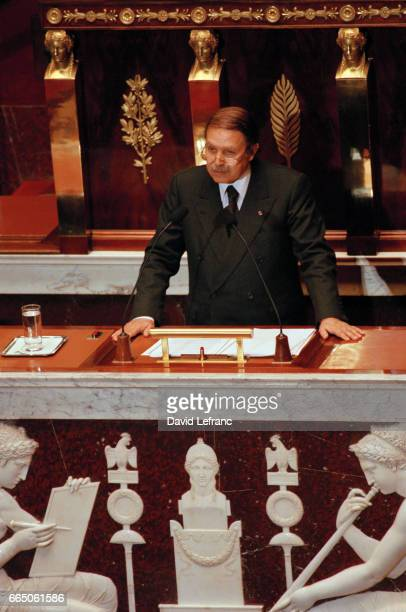 Algerian President Abdelaziz Bouteflika speaks at the French Assemblee Nationale during an official visit to France