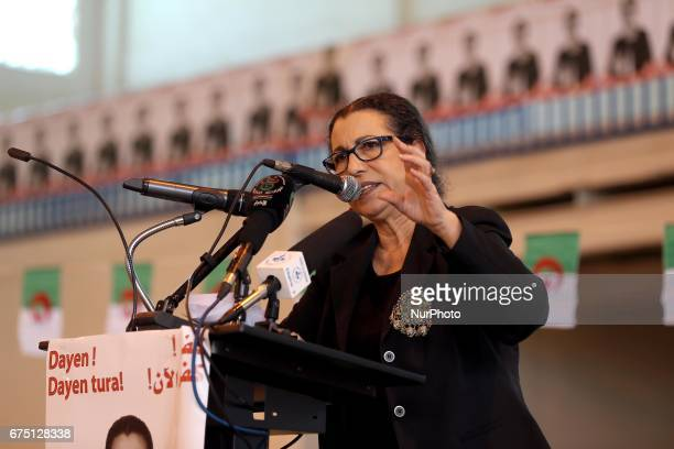 Algerian presidential candidate and head of Algeria's Workers' Party Louiza Hanoun gives a speech during a political meeting in Algiers on 29 April...