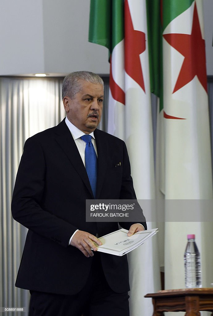 Algerian Prime Minister Abdelmalek Sellal addresses a gathering of parliamentarians during a vote on a package of constitutional reforms on February 7, 2016, in the capital Algiers. Algeria's parliament adopted the constitutional reforms that authorities say will strengthen democracy, but opponents doubt it will bring real change. The reforms are meant to address longstanding public grievances in the North African nation, and possibly to prepare for a smooth transition amid concerns over the health of 78-year-old President Abdelaziz Bouteflika. / AFP / Farouk Batiche