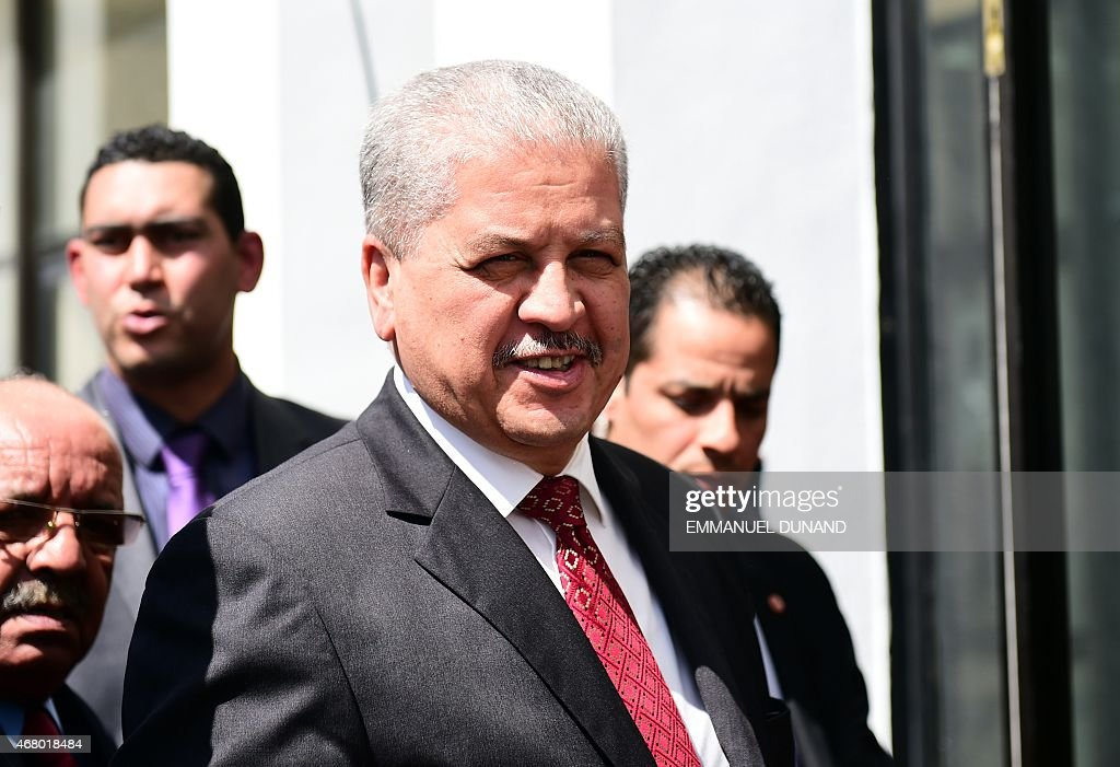 Algerian Prime Minister Abdelmalek Sellal arrives to take part in an anti-extremism march, in Tunis, on March 29, 2015 following the massacre of foreign tourists at the country's national museum.