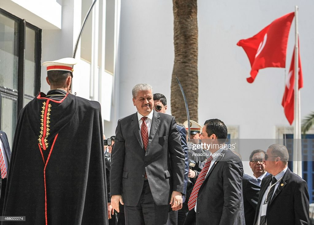 Algerian Prime Minister Abdelmalek Sellal (L 2) attends the anti-terrorism march at Bardo Square in Tunis, Tunisia on March 29, 2015 after the Bardo Museum attack. At least 24 people, mostly foreign tourists, were killed and over 47 injured when gunmen stormed Tunis' Bardo Museum on March 18, 2015.