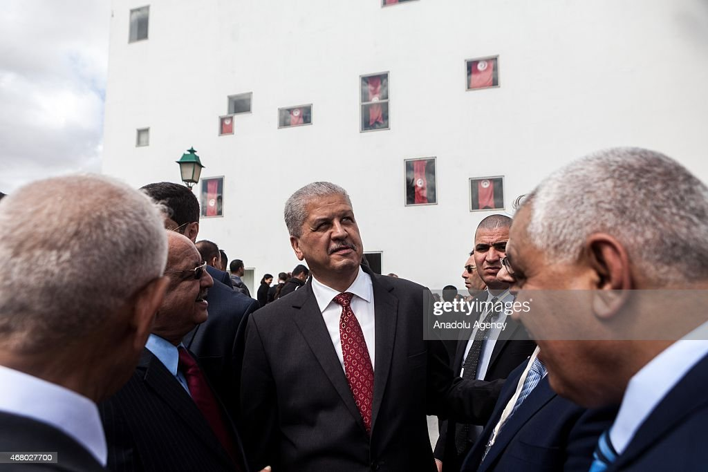 Algerian Prime Minister <a gi-track='captionPersonalityLinkClicked' href=/galleries/search?phrase=Abdelmalek+Sellal&family=editorial&specificpeople=3196882 ng-click='$event.stopPropagation()'>Abdelmalek Sellal</a> (C) attends the anti-terrorism march at Bardo Square in Tunis, Tunisia on March 29, 2015 after the Bardo Museum attack. At least 24 people, mostly foreign tourists, were killed and over 47 injured when gunmen stormed Tunis' Bardo Museum on March 18, 2015.