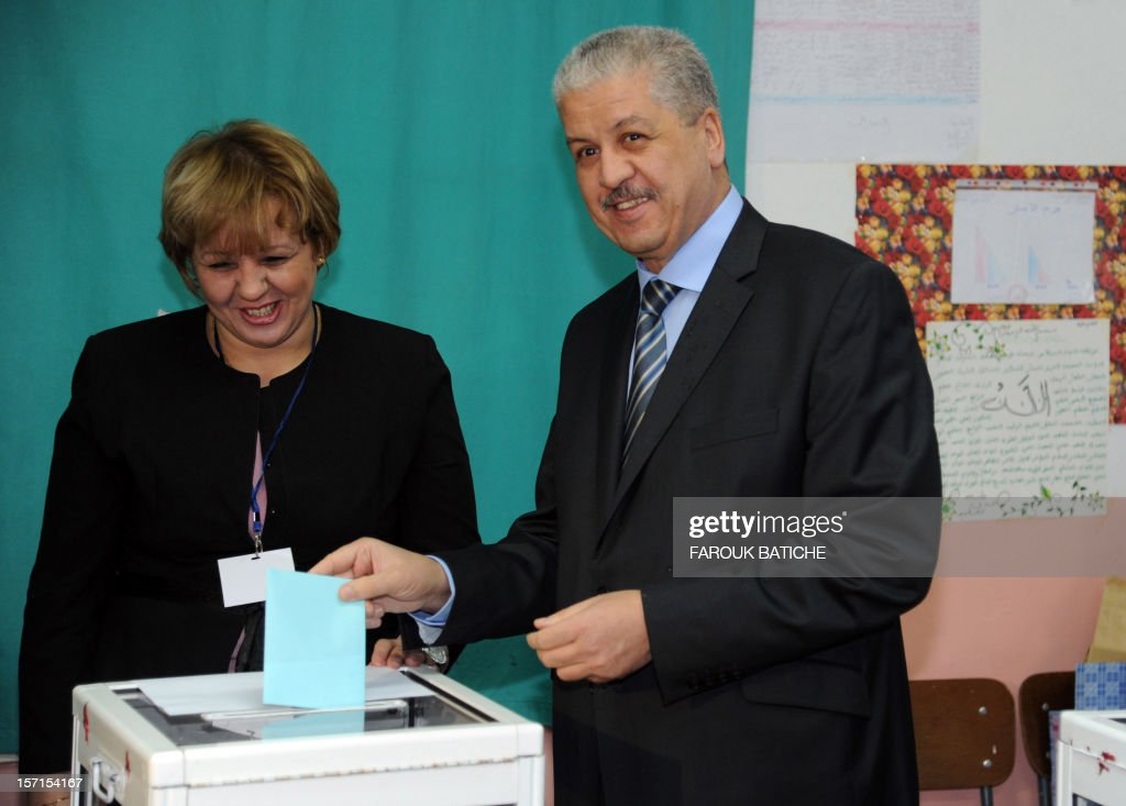 Algerian Prime Minister Abdelmalek Sellal casts his vote at a polling station, set up at the El-Ghazali school in Algiers, during local elections on November 29, 2012. Algeria's ruling party is eyeing a landslide victory in local elections, with numerous opposition groups warning of fraud in a poll that could struggle to mobilise a disaffected electorate. AFP PHOTO/FAROUK BATICHE