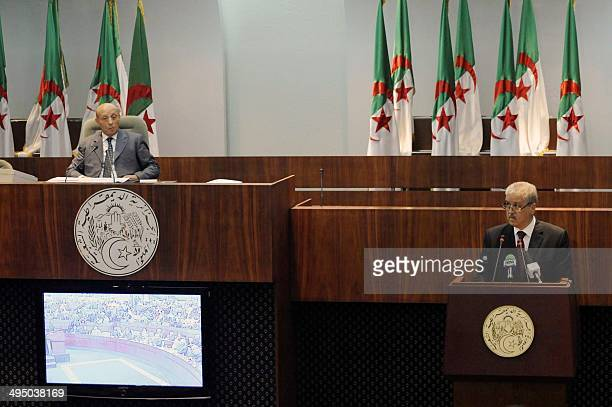 Algerian Prime Minister Abdelmalek Sellal speaks during a parliamentary session at the National Assembly in Algiers on June 1 2014 The national news...