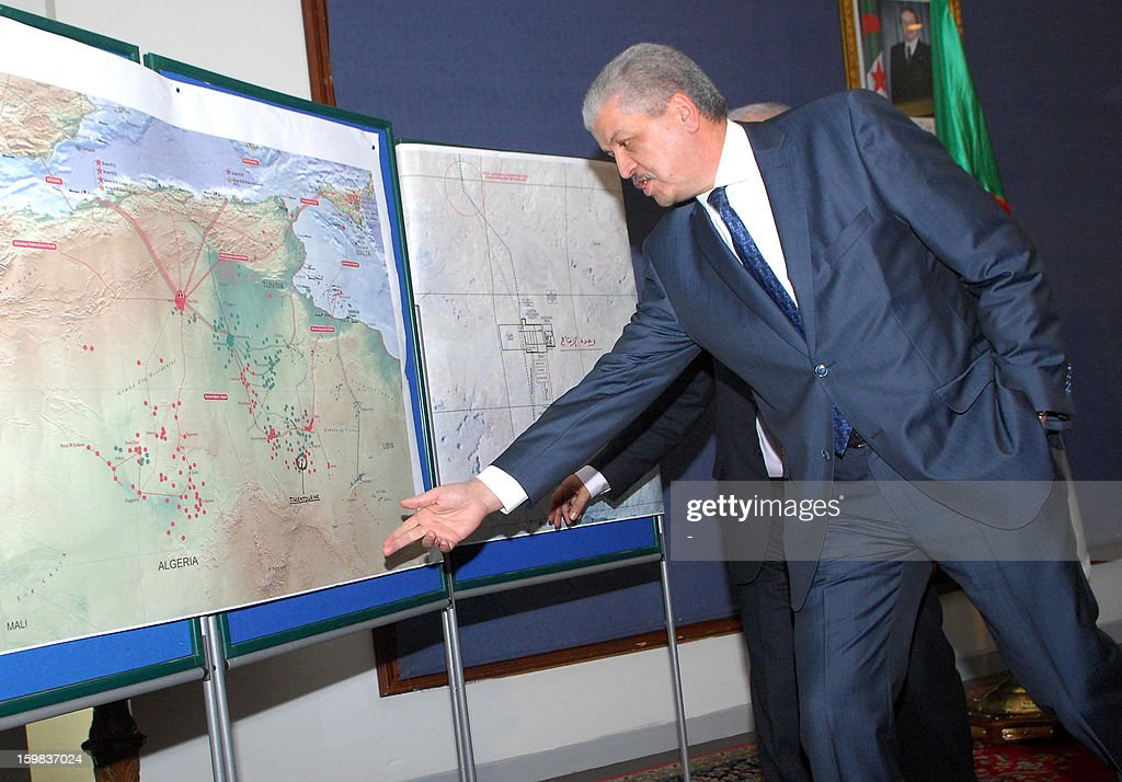 Algerian Prime Minister Abdelmalek Sellal speaks in front of a map of the country during a press conference in Algiers on January 21, 2012, where he warned other nations to prepare for a higher body count after a four-day siege of a gas plant by Islamist militants ended in a bloodbath, amid fears as many as 50 hostages may have died.