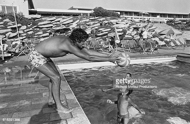 Algerian singer Enrico Macias enjoys a vacation in Herzliya Israel with his family Macias his wife Suzy his son JeanClaude and his daughter Jocya...