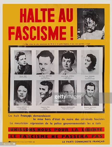 Algerian War of Independence Poster of the French communist party February 1962