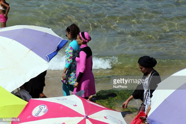 Algerian women wear a quotburkiniquot in the sea at the beach of Oran West of Algiers on 5 August 2017
