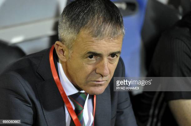Algeria's coach Lucas Alcaraz reacts on the sidelines during their 2019 African Cup of Nations qualification Group D football match between Algeria...