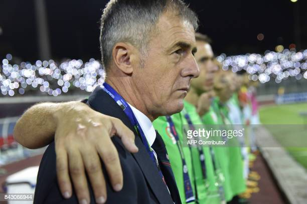 Algeria's coach Lucas Alcaraz watches the FIFA World Cup qualification football match between between Algeria and Zambia at MohamedHamlaoui Stadium...
