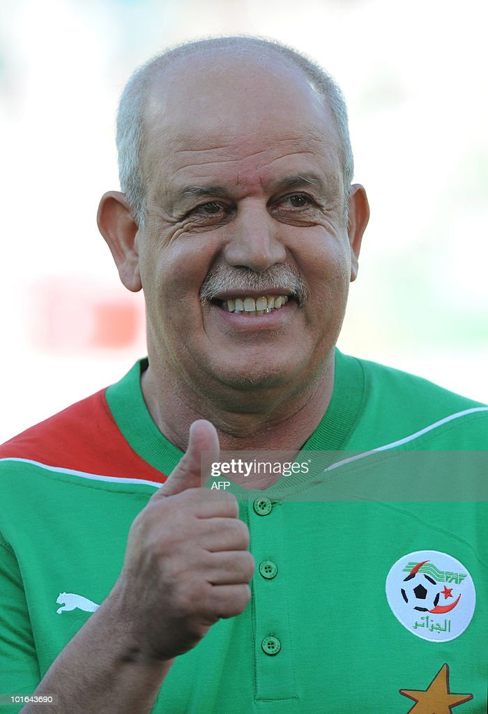 Algeria's coach Saadane Rabah gestures prior to a friendly football match between Algeria and the United Arab Emirates in Fuerth, southern Germany, June 5, 2010.