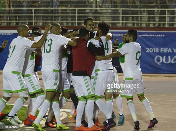 Algeria's El Arbi Hillel Soudani celebrates his score during the FIFA World Cup 2018 qualifying soccer match between Algeria and Cameroon at the...