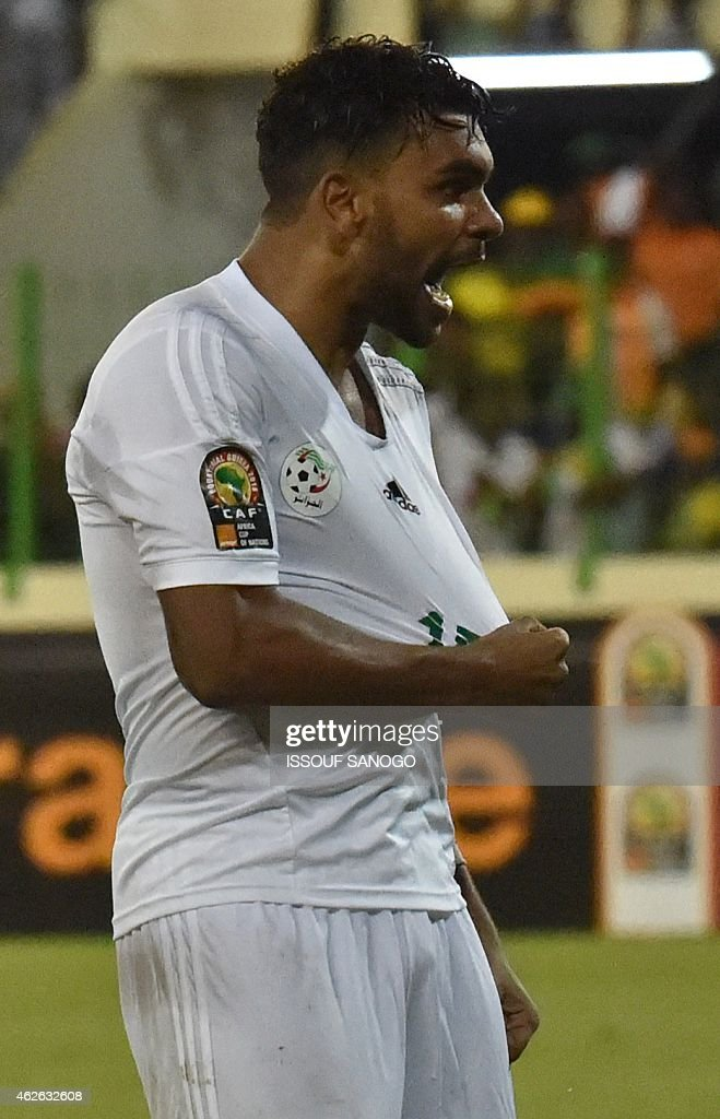 Algeria's forward El Arabi Soudani celebrates after scoring a goal during the 2015 African Cup of Nations quarter final football match between Ivory Coast and Algeria in Malabo, on February 1, 2015.