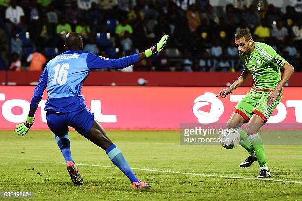 TOPSHOT Algeria's forward Islam Slimani controls the ball before scoring past Senegal's goalkeeper Khadim N'Diaye during the 2017 Africa Cup of...