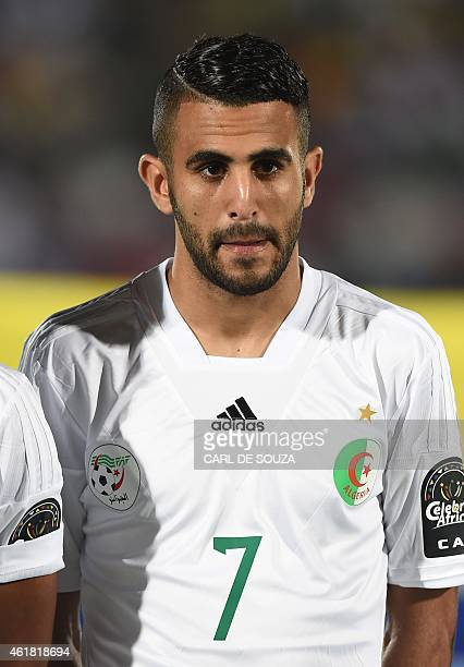 Algeria's forward Riyad Mahrez poses ahead of the 2015 African Cup of Nations group C football match between Algeria and South Africa in Mongomo on...