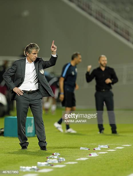 Algeria's French manager Christian Gourcuff reacts during the friendly football match between Qatar and Algeria at Abdullah bin Nasser bin Khalifa...