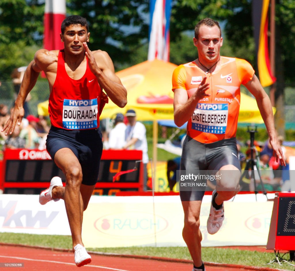 Algeria's Larbi Bouraada competes with Austria's Dominik Distelberger in the 100 meter event on the first day of the Men's decathlon meeting held in Goetzis, Austria on May 29, 2010 some 640 kilometers west of Vienna.