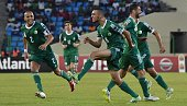 Algeria's midfielder Nabil Bentaleb celebrates after scoring a goal during the 2015 African Cup of Nations group C football match between Senegal and...