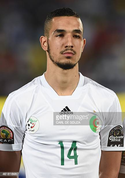 Algeria's midfielder Nabil Bentaleb poses ahead of the 2015 African Cup of Nations group C football match between Algeria and South Africa in Mongomo...