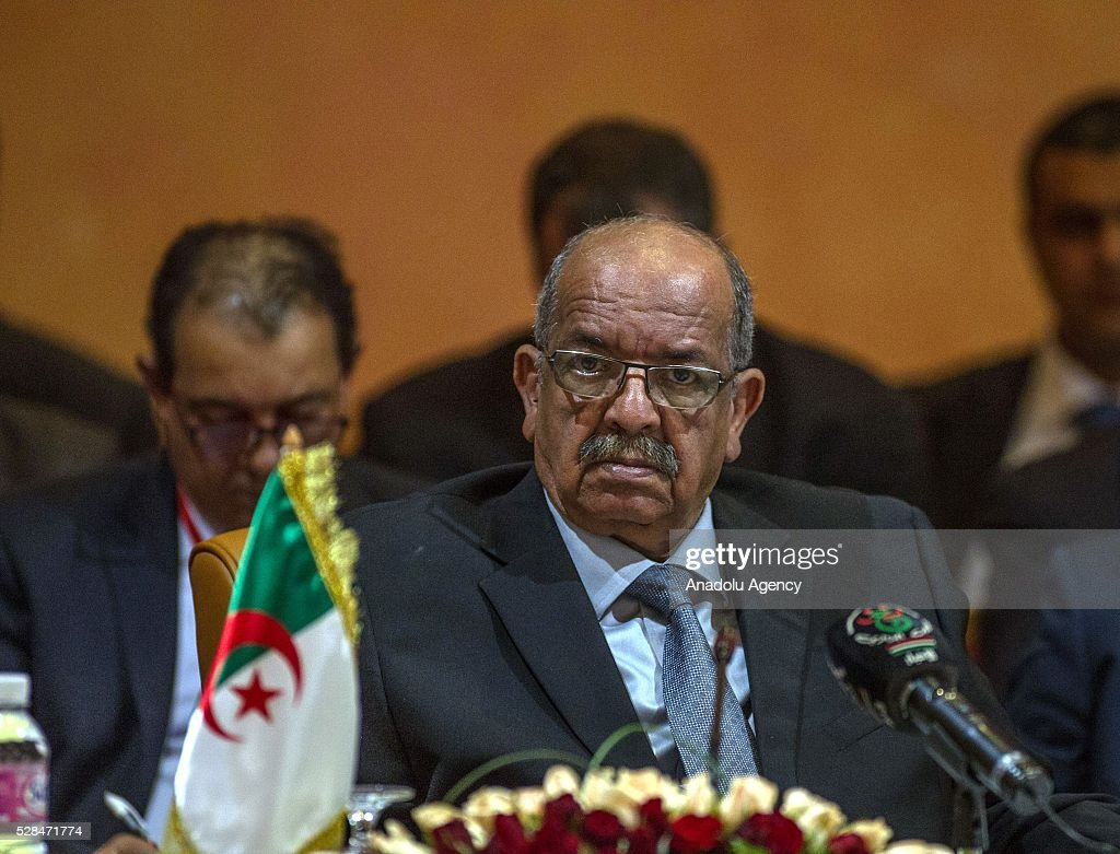 Algeria's Minister Delegate for Maghreb and African Affairs Abdelkader Messahel participates in the 34th Arab Maghreb Union Foreign Ministers meeting at Golden Tulip in Tunis, Tunisia on May 5, 2016.