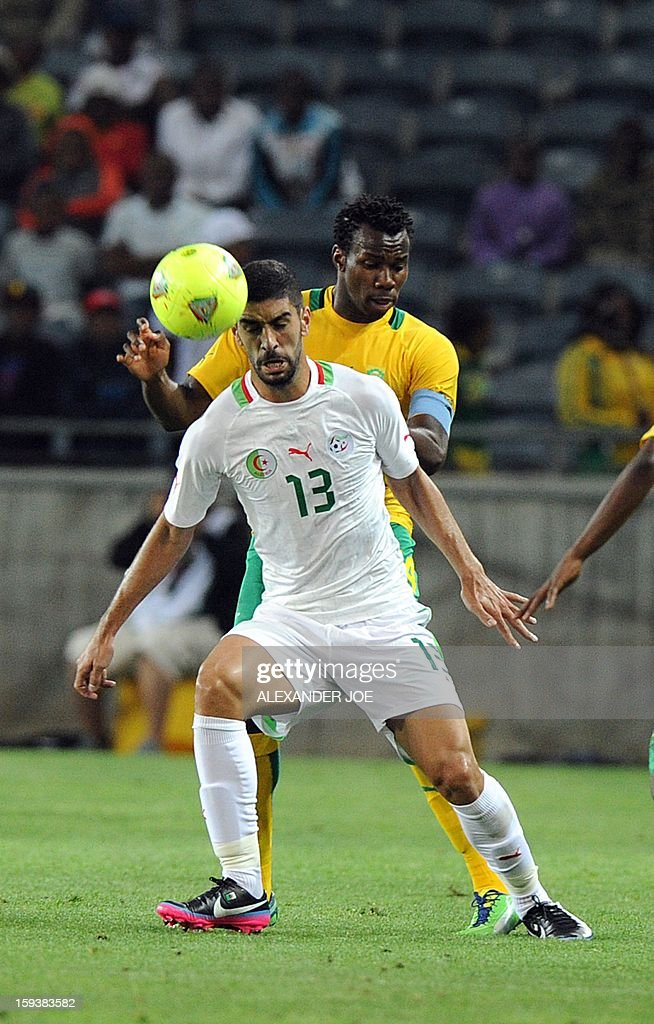 Algeria's Mohamed Amine Aoudia (L) vies with South Africa's Thabo Matlaba during a friendly football match between South Africa's Bafana Bafana and Algeria in Soweto on January 12 , 2013, ahead of the 2013 African Cup of Nations that will take place in South Africa from January 19 to February 10. Hosts South Africa completed their warm-up matches for the 2013 Africa Cup of Nations with another disappointing result after being held 0-0 by fellow qualiers Algeria.