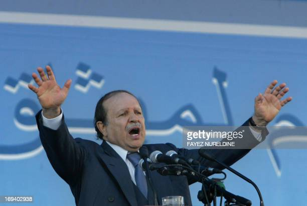 Algeria's President Abdelaziz Bouteflika gestures as he gives a speech during a rally held in TiziOuzou capital of Greater Kabylie 110 km east of...