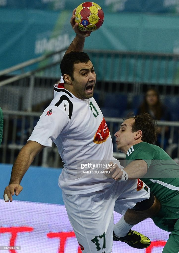 Algeria's right back Abderrahim Berriah (L) shoots past Hungary's right wing Gergely Harsanyi during the 23rd Men's Handball World Championships preliminary round Group D match Hungary vs Algeria at the Caja Magica in Madrid on January 19, 2013.