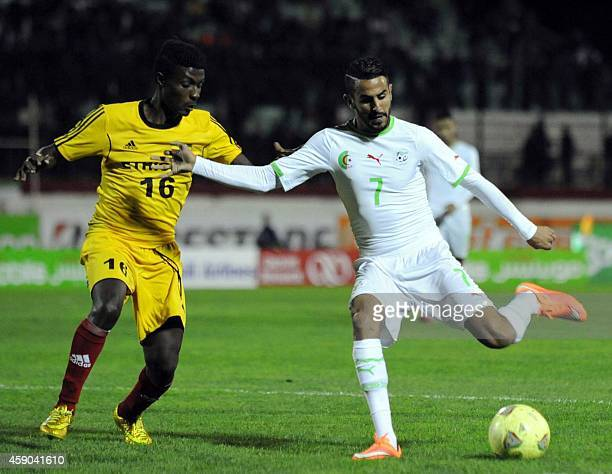 Algeria's Riyad Mahrez vies with Ethiopia Tadele Mengesha during the 2015 Africa Cup of Nations qualifying football match between Algeria and...