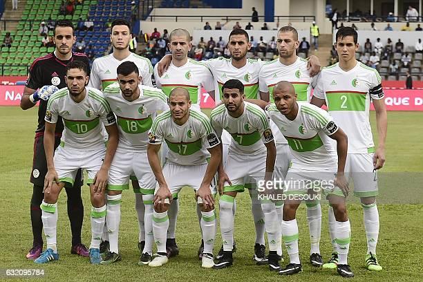 Algeria's squad goalkeeper Malik Asselah defender Rami Bensebaini defender Mohamed Rabie Meftah defender Faouzi Ghoulam forward Islam Slimani...