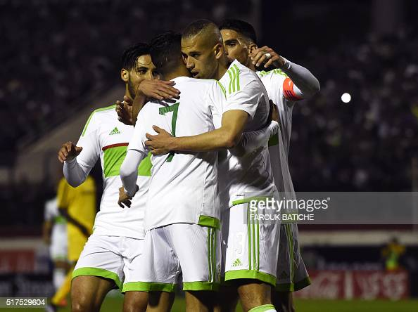 Algeria's team celebrates after scoring a goal during the 2017 African Cup of Nations football match between Algeria and Ethiopia at the Mustapha...