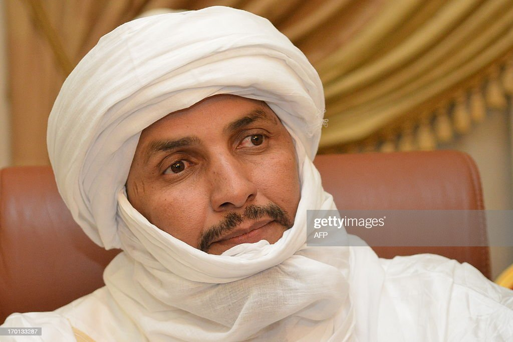Alghabass Ag Intalla, leader of the Ansar Dine delegation, attends with Tuareg leaders a meeting on the Malian crisis on June 7, 2013, in Ouagadougou. Talks initially planned for June 7 were postponed.