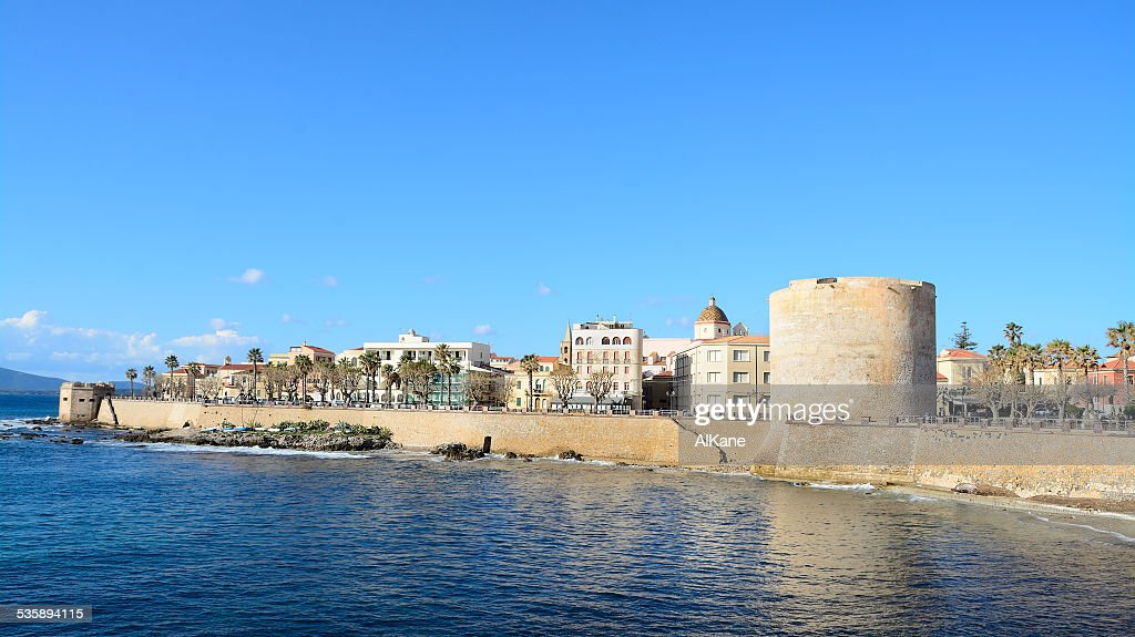 Alghero coastline under a clear sky : Stock Photo