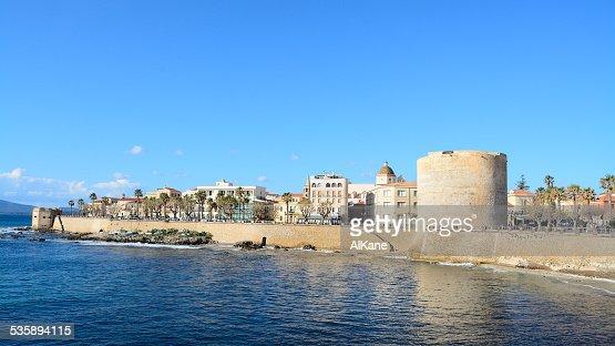 Alghero coastline under a clear sky : Stock Photo