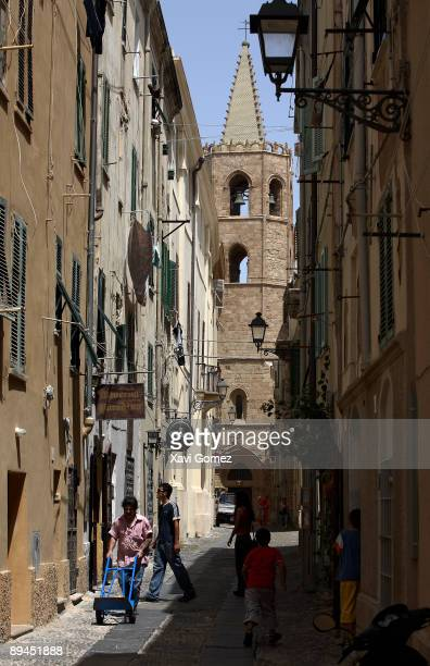 Alghero Sardinia Via Principe Umberto and Cathedral Located on the northwest coast of Sardinia Alghero has become a major holiday destination in...