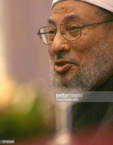 Qatar's Egyptianborn cleric Sheikh Yusuf alQaradawi smiles during a press conference held on the eve of the fifth International AlQuds conference in...