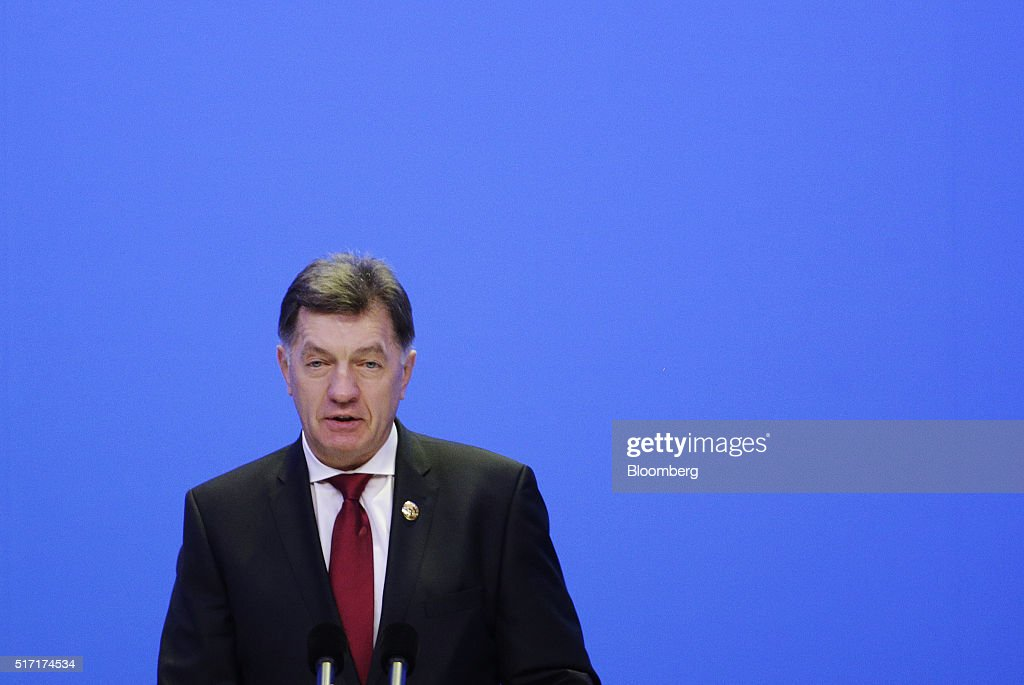 Algirdas Butkevicius, Lithuania's prime minister, speaks during the opening plenary session of the Boao Forum For Asia Annual Conference in Boao, China, on Thursday, March 24, 2016. The annual event sees business and political leaders come together and runs from March 22 to 25. Photographer: Qilai Shen/Bloomberg via Getty Images