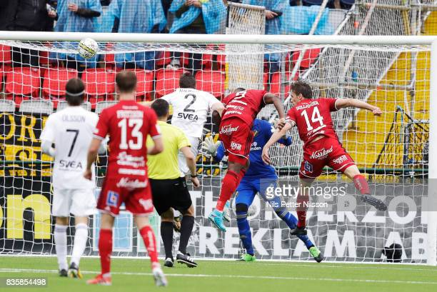 Alhaji Gero of Oestersunds FK shoots a header during the Allsvenskan match between Ostersunds FK and AIK at Jamtkraft Arena on August 20 2017 in...