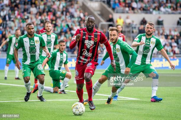 Alhaji Gero of Ostersunds FK alone against Hammarby IF during the Allsvenskan match between Hammarby IF and Ostersunds FK at Tele2 Arena on August 14...