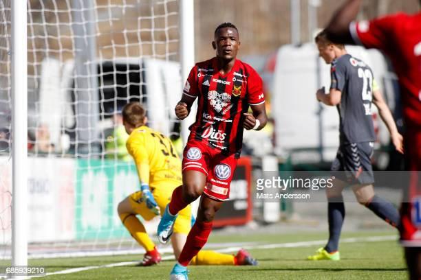 Alhaji Gero of Ostersunds FK celebrates after scoring 10 during the Allsvenskan match between Ostersunds FK and Kalmar FF at Jamtkraft Arena on May...