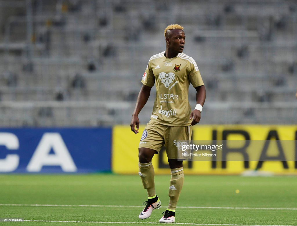 Alhaji Gero of Ostersunds FK during the Allsvenskan match between Djurgardens IF and Ostersunds FK at Tele2 Arena on May 2, 2016 in Stockholm, Sweden.