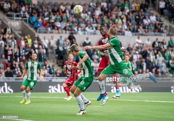 Alhaji Gero of Ostersunds FK during the Allsvenskan match between Hammarby IF and Ostersunds FK at Tele2 Arena on August 14 2017 in Stockholm Sweden