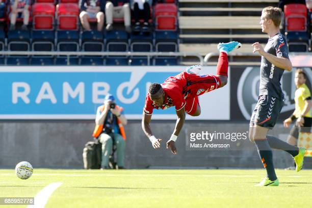 Alhaji Gero of Ostersunds FK in action during the Allsvenskan match between Ostersunds FK and Kalmar FF at Jamtkraft Arena on May 20 2017 in...