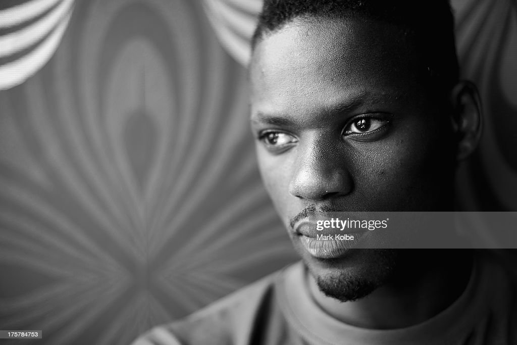 Alhaji Jeng of Sweden poses during the Swedish team media session at the Kalina Bar on August 8, 2013 in Moscow, Russia.
