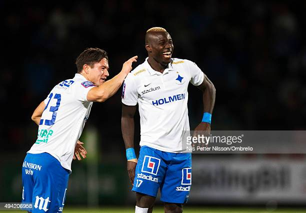 Alhaji Kamara celebrates after scoring 10 during the IFK Norrkoping vs Halmstad BK Allsvenskan match at Nya Parken on October 25 2015 in Norrkoping...
