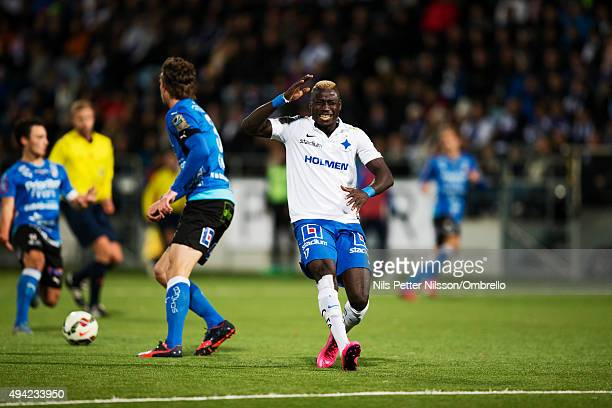 Alhaji Kamara reacts during the IFK Norrkoping vs Halmstad BK Allsvenskan match at Nya Parken on October 25 2015 in Norrkoping Sweden