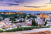 Alhambra of Granada, Spain. Alhambra fortress and Albaicin quarter at twilight.