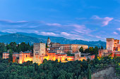 Alhambra during evening blue hour in Granada, Andalusia, Spain