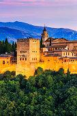 Alhambra of Granada, Spain. Alhambra at twilight.